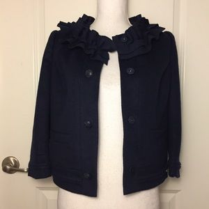 Juicy Couture Ruffle Neck Wool Blend Jacket Sz S